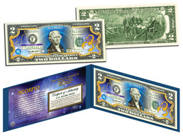 SCORPIO * Horoscope Zodiac * Genuine Legal Tender Colorized U.S. $2 Bill - $13.81