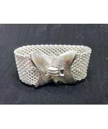 Crown Trifari Wide Chain Mesh Silver Tone  Bracelet Vintage Signed - $35.99
