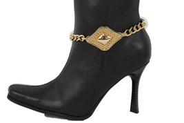 Sexy Women Western Boot Anklet Gold Chain Metal Western Shoe Retro Hip Hop Charm - $15.67