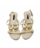 Auth Louis Vuitton Cream/White Leather Sandals Slim Heels Size38.5 US8.5... - $187.00