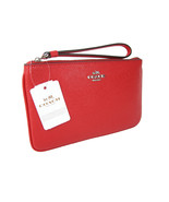 Coach Signature Large Wristlet Bag Purse Genuine Leather Crossgrain Red NWT - $89.09