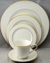 "Lenox ""Snowdrift"" Gold Salad Plate Round Bone China Made In Usa White New - $14.50"