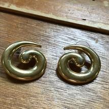 Estate Large Monet Signed Goldtone Swirl Post Earrings for Pierced Ears – 1.25 x - $8.59