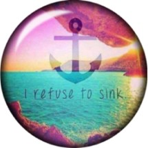 Snap button Refuse to sink Anchor 18mm Cabochon chunk charm - $8.49