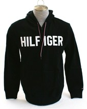 Tommy Hilfiger Black Signature Zip Front Hooded Jacket Hoodie Men's NWT  - $74.99