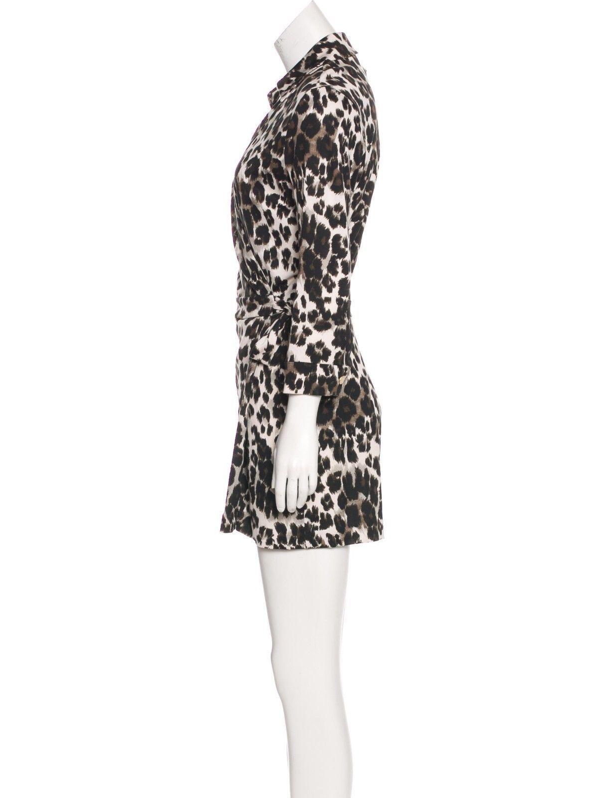 SZ 8 DIANE von FURSTENBERG DVF Celeste Leopard Medium  Cotton Romper NWT $398