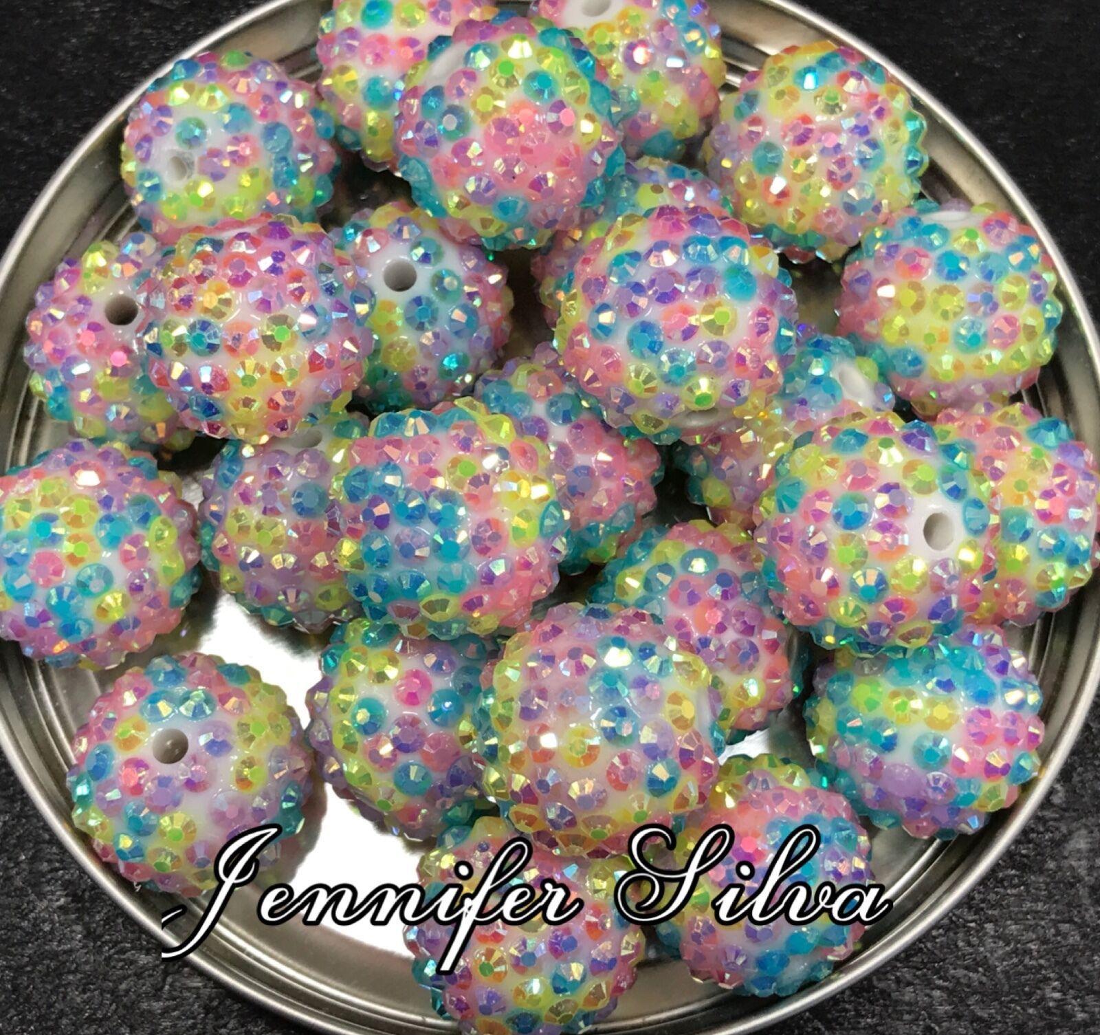 Rainbow AB Rhinestone Chunky Beads 20mm
