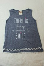 Kiddo By Katie Girls Tank Top Sz 7 Gray There Is Always A Reason To Smil... - $17.81