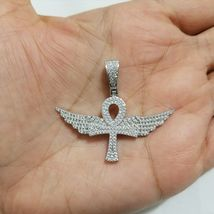Diamond Wing Ankh Cross Charm Pendant 10k White Gold Plated 925 Sterling... - £107.07 GBP