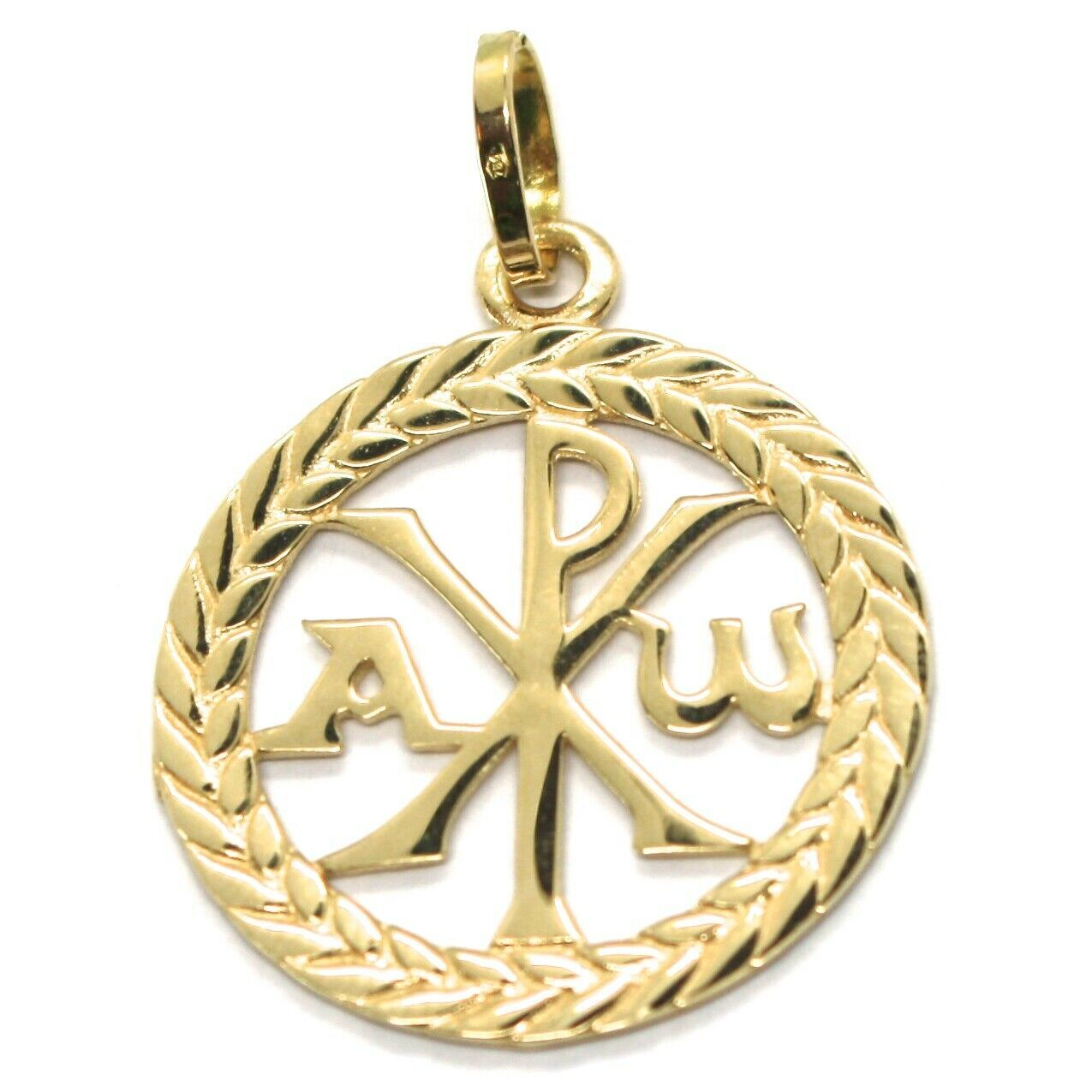 SOLID 18K YELLOW GOLD MONOGRAM OF CHRIST PENDANT, PEACE, MEDAL, 0.95 INCHES