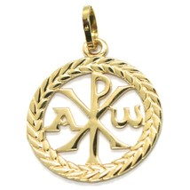 SOLID 18K YELLOW GOLD MONOGRAM OF CHRIST PENDANT, PEACE, MEDAL, 0.95 INCHES image 1