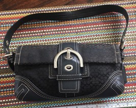 COACH SIGNATURE FLAP BLACK purse Jacquard small Satchel Handbag #c05j-3628 - $21.84