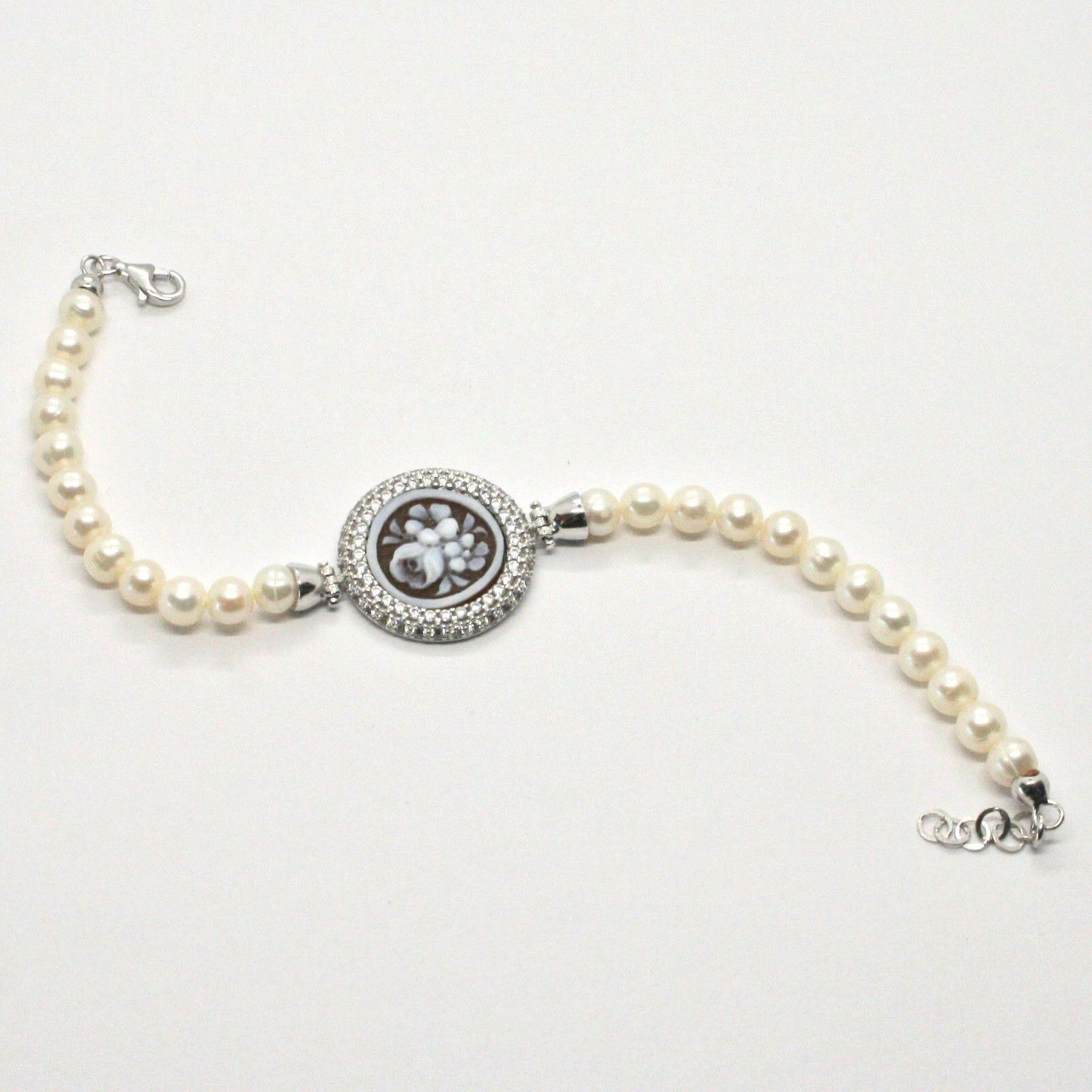 Armband 925 Silber mit Perlen Wasser Dolce Kamee Kamee Zirkonia Kubische image 6