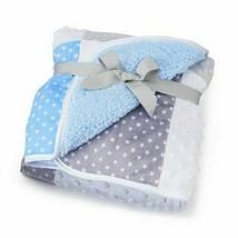 NWT Just Born Blue White Grey Stars Patchwork Popcorn Minky Dot Baby Bla... - $79.17