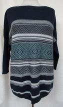 SONOMA Poncho Sweater Jacquard Baja Pullover Navy White Generously Sized M - $18.61