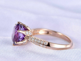 2Ct Round Cut Amethyst Diamond Solitaire Engagement Ring 14K Rose Gold F... - $82.36