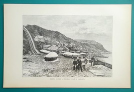 CANADA Labrador Missionary Fishing Station - 1890s Antique Print - $14.40