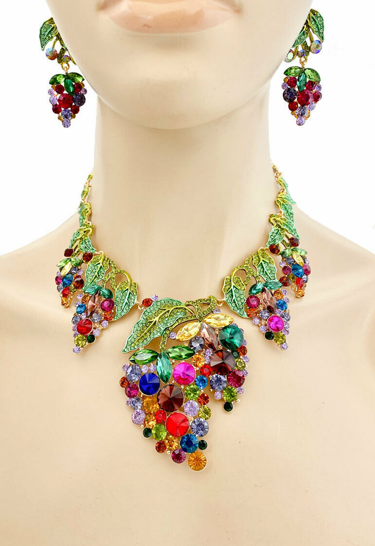 Primary image for Statement Bib Necklace Earrings Multicolor Crystals Grape Vines Wedding Jewelry
