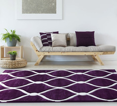 Contemporary Abstract Plush Carved Purple Plum Area Rug **FREE SHIPPING** - €52,00 EUR+