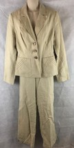 Merona Tan Linen Pant Suit Size 8 Lined 3 Button Stylish Jacket  Inseam ... - $20.62