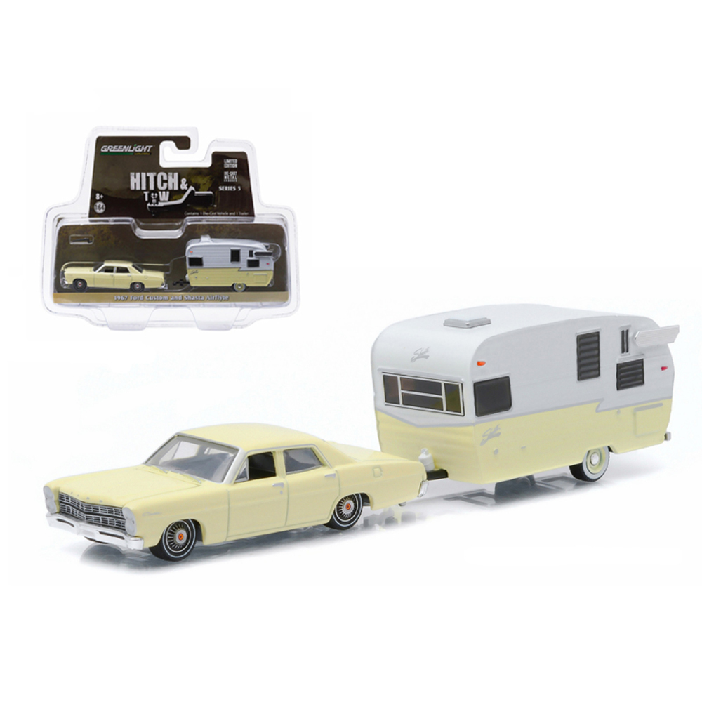 1967 Ford Custom Yellow and Shasta 15ft Airflyte 1/64 Diecast Model Car by Green