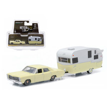 1967 Ford Custom Yellow and Shasta 15ft Airflyte 1/64 Diecast Model Car by Green - $26.56