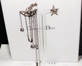 AUTHENTIC Christian Dior STAR CD LOGO CHARM Multi Chain Long Dangle Earrings image 5