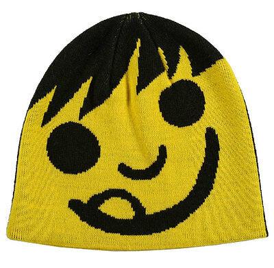 Neff Yellow Black Happy Emoij Shred Snowboard Beanie Winter Hat