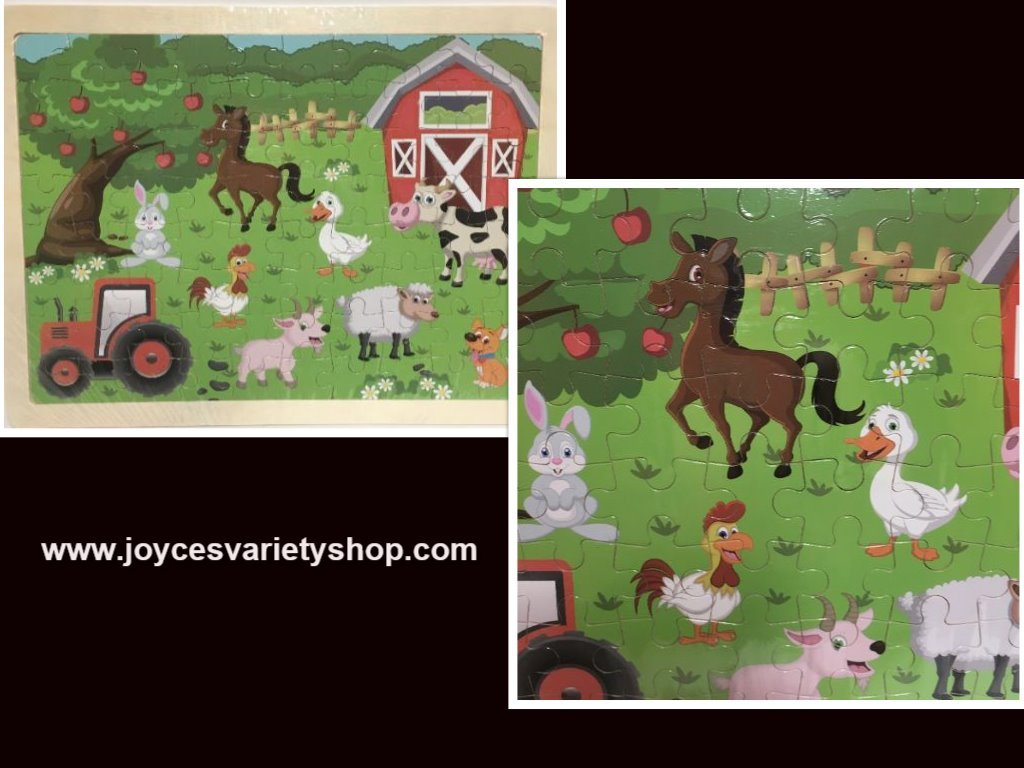 """Hands Craft Wood Frame Farm Animals Jigsaw Puzzle 80 Piece 9"""" x 12"""" Ages 5+"""