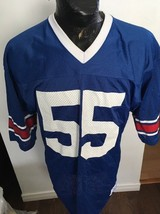 VINTAGE Adult Football CHAMPION Jersey #55 BLUE, RED AND WHITE - $15.86