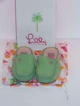 """Lilly Pulitzer~GREEN Leather Moccasin Mule Slipon~Size 8M~""""CUPCAKE""""~#122... - $28.88"""