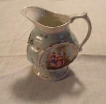 Pitcher/Creamer 3 Sided Hand Painted Romance Renaissance Floral Ceramic ... - $14.84