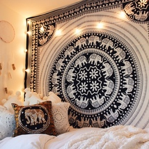 Elephant Mandala Tapestry Wall Hanging Bohemian Tapestry Boho Decor Beds... - $15.00+