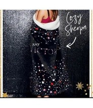 Victoria's Secret Sherpa Throw Blanket Black with Stars 50' x 60' NEW - $58.91