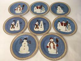 """Debbie Mumm Snowman 8"""" Dessert Salad Plates by Sakura, Set of 8 - $23.76"""