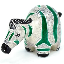 Crafts Caravan Hand Carved Soapstone Chubby White & Green Zebra Figurine Kenya image 2