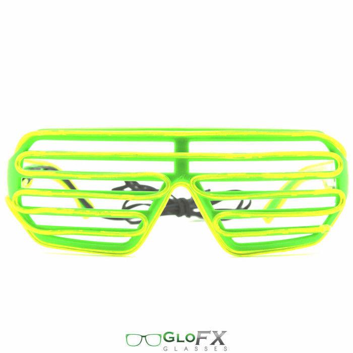 GloFX Luminescence Shutter Frames- Green w/ Lime Party EDM LED Glasses