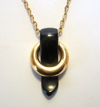 Vintage Mod Crown Trifari Gold & Jet Black Lucite Bakelite Era Pendant Necklace - $64.95