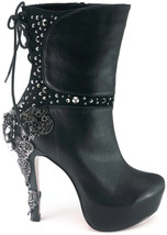 Hades MCQUEEN Black Victorian Renaissance Ankle Boots Studs Filigree Lace Up - $189.00