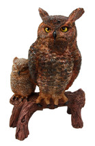 Transient Wisdom Of The Forest Great Horned Owl & Owlet Decorative Figurine - $39.99