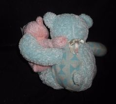 2000 ENESCO BLUE BROTHER PINK SISTER TEDDY BEAR RATTLE STUFFED ANIMAL PLUSH TOY image 6