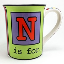 N is For Coffee Mug Cup 14oz Noble Nice Novel Giftlore Multicolor k744 - $16.99