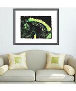 11 x 14 Canvas Art Painting Lightening Bolt Horse in Neon Greens - $16.80