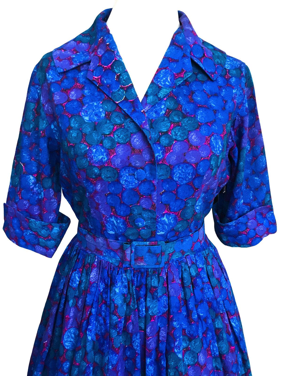 50s Vtg 100% Cotton Blue Pink Green Spot Dot Big Collar Shirtwaist Belted Dress