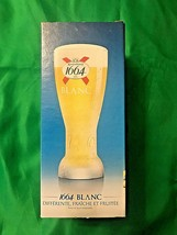 KRONENBOURG BLANC 1664 Frosted Beer Glass 0.25 L EMBOSSED BOTTOM OF GLAS... - $8.90
