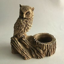 "Owl Figurine On Branch Composite/Resin Statue Candle Holder 2"" Opening 6... - $10.89"