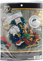 "Bucilla Felt Stocking Applique Kit 18"" Long-Officer Santa - $27.38"