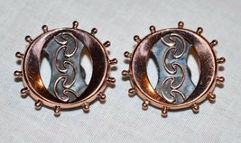 VTG Matisse RENOIR Signed RARE Round Abstract Clip Earrings B - $33.66