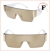 DOLCE & GABBANA LOGOMANIA 2233 Shield DG White Gold Mirrored Sunglasses ... - $234.63