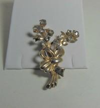 Gold Tone Clear Rhinestone Floral Spray Pin Brooch - $14.84